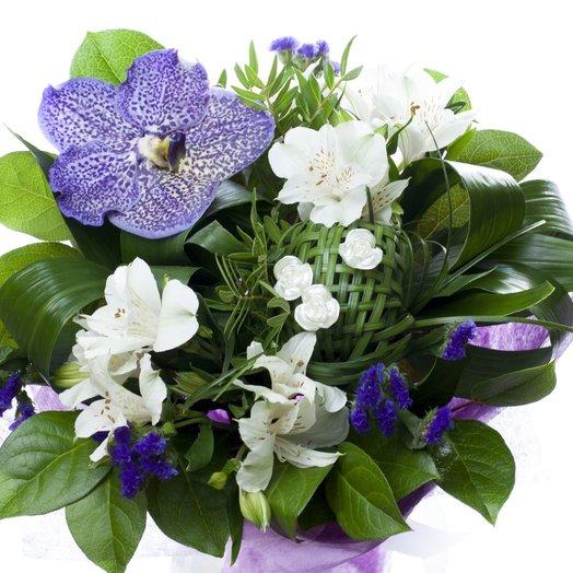 Оригинальный букет с орхидеей вандой: букеты цветов на заказ Flowwow