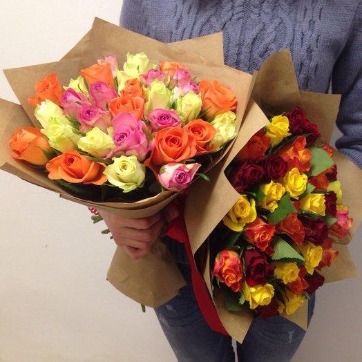 Кенийская роза МИКС яркая прям: букеты цветов на заказ Flowwow