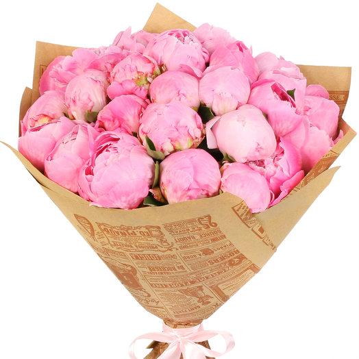 Букет из 25 розовых пионов: букеты цветов на заказ Flowwow