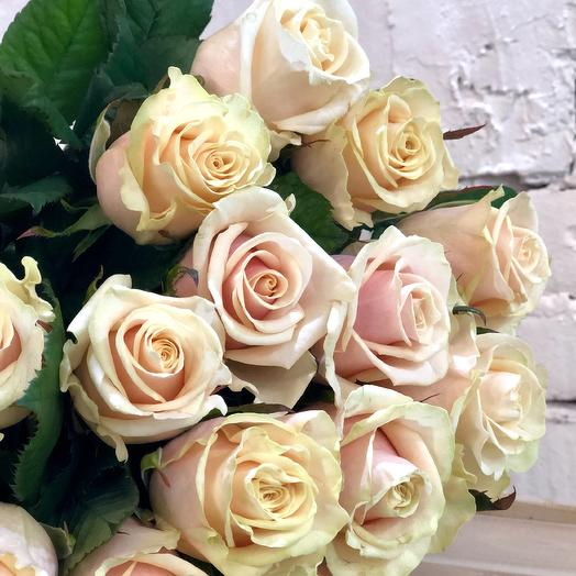 15 нежных кремовых роз Талея: букеты цветов на заказ Flowwow
