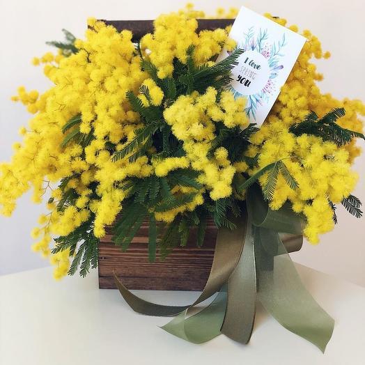 Композиция весенняя с мимозой: букеты цветов на заказ Flowwow