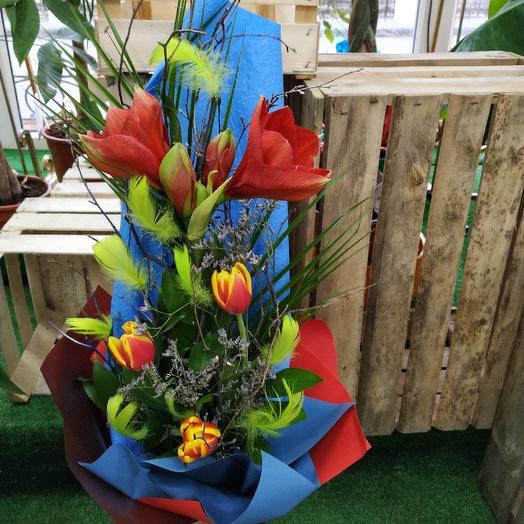Стильный букет с амариллисом: букеты цветов на заказ Flowwow