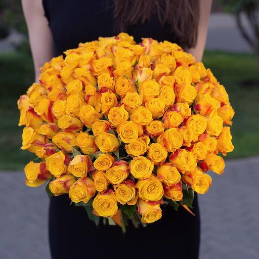 """Букет """"101 Оранжевая Роза"""": букеты цветов на заказ Flowwow"""