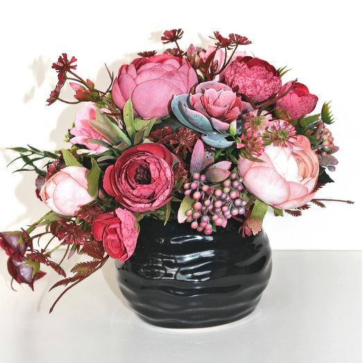 Композиция из искусственных цветов 400654: букеты цветов на заказ Flowwow