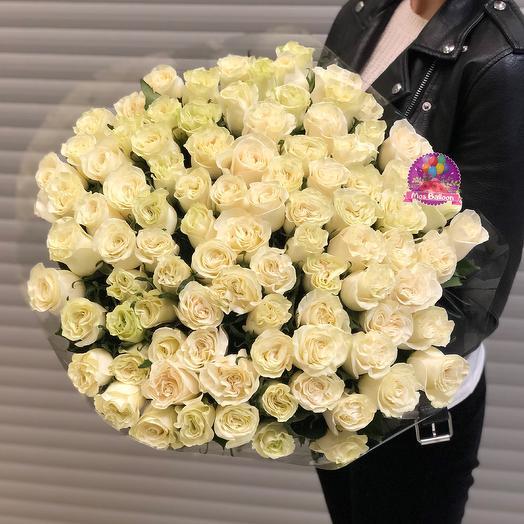 "Букет белых роз ""Мондиаль"": букеты цветов на заказ Flowwow"
