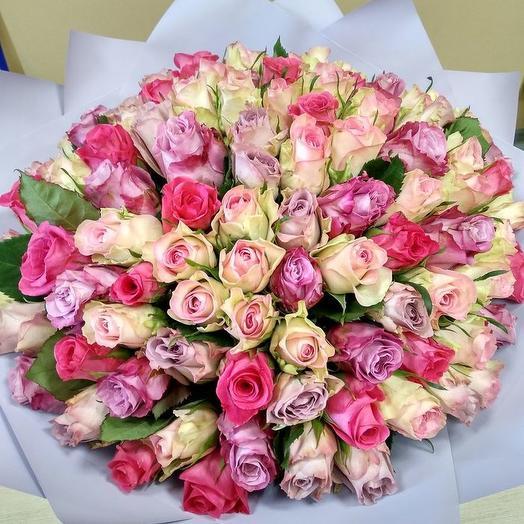 101 роза 40 см нежный микс
