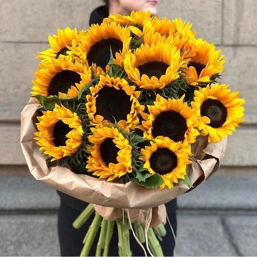 Подсолнухи 19 шт: букеты цветов на заказ Flowwow