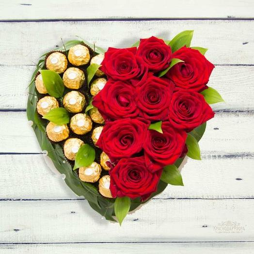 Сердце с конфетами ферреро роше