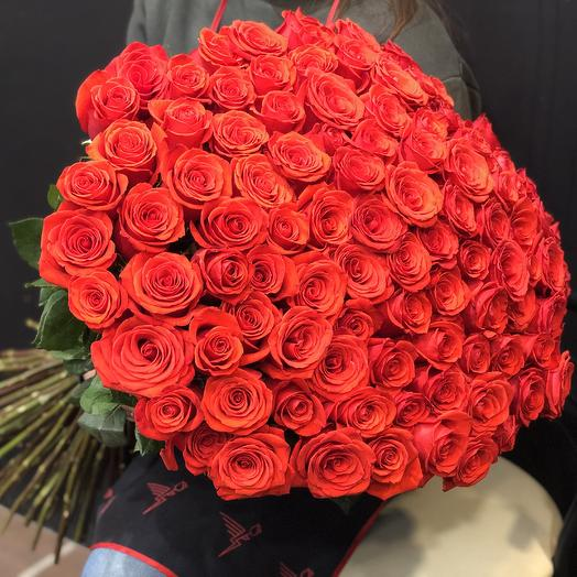 101 красная роза 60 см в букете