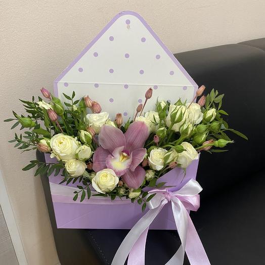 Конверт с розами , орхидей и сухоцветами: букеты цветов на заказ Flowwow