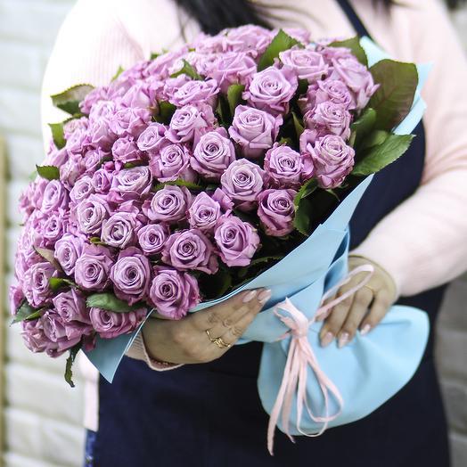 101 фиолетовая роза: букеты цветов на заказ Flowwow