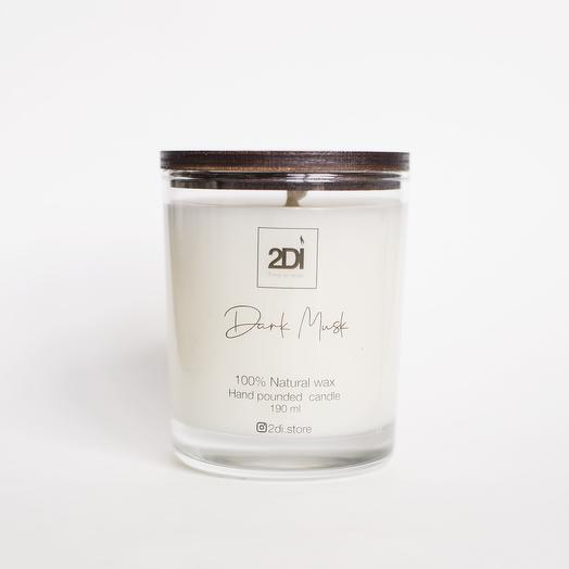 Натуральная аромасвеча ручной работы 190 мл, хлопковый фитиль - Dark Musk, Тёмный мускус