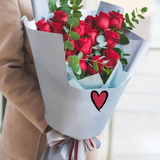 для любимой 15 роз премиум