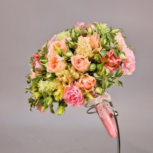 Свадебный букет, бутоньерка, браслет и венок невесты