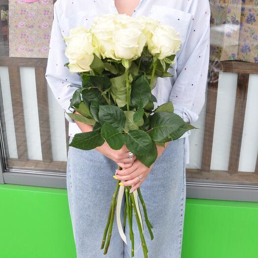 Роза белая 70 см. 11 шт