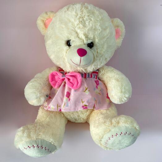 Мягкая инрушка Белый Медведь в розовом платье