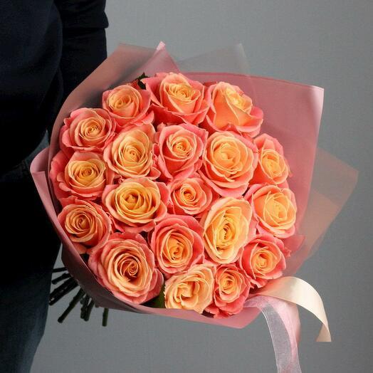 Букет из 15 персиковых роз Мисс Пигги