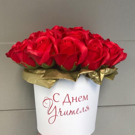Букет из мыльных Роз с индивидуальной надписью