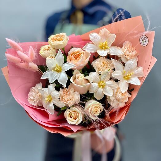 ✅Букет с пионовидной розой и мраморными тюльпанами «Медовый персик 🍑