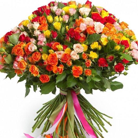 51 кустовая роза ассорти: букеты цветов на заказ Flowwow