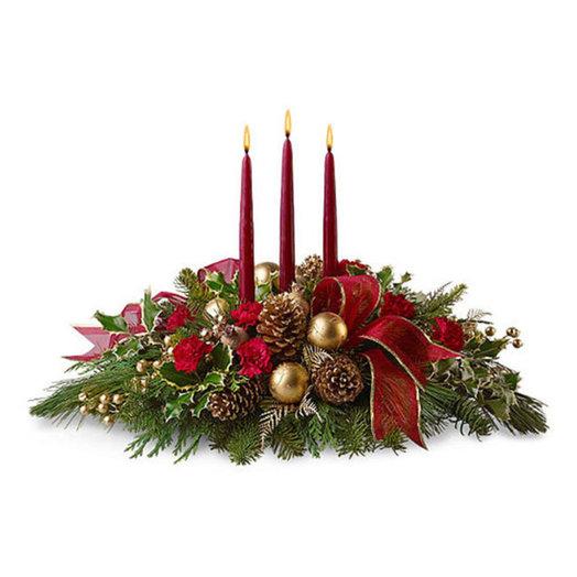 Новогодняя композиция «Красная магия»: букеты цветов на заказ Flowwow