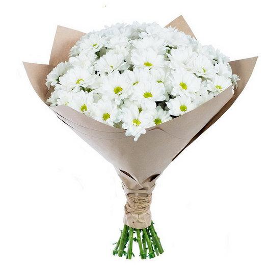Белая хризантема в крафте: букеты цветов на заказ Flowwow