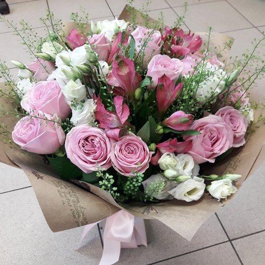"""Букет """"Прилив нежности"""" из розовых роз и белой эустомы!: букеты цветов на заказ Flowwow"""