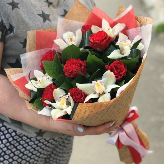 Орхидея. Роза.  N146: букеты цветов на заказ Flowwow