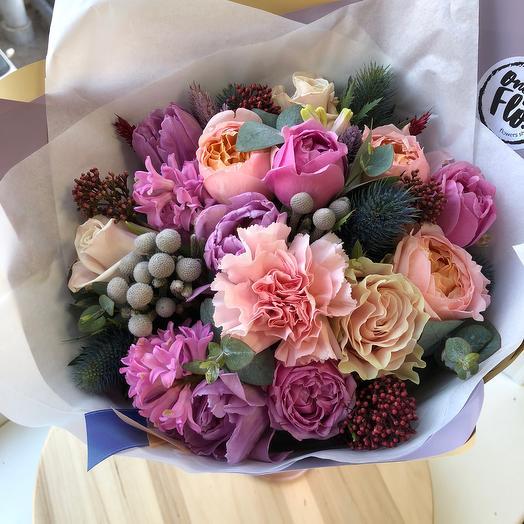 Букет с пионовидными розами: букеты цветов на заказ Flowwow