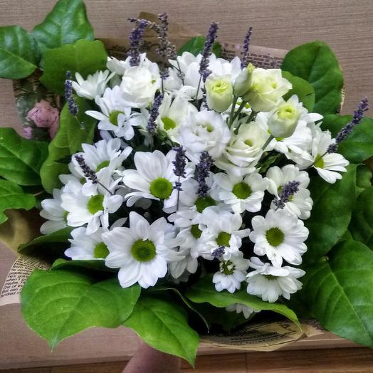 Букет с ромашкой и лавандой: букеты цветов на заказ Flowwow