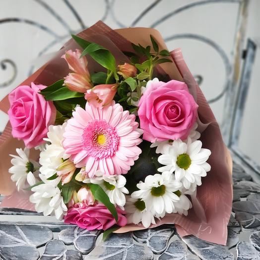 """Букет из роз и хризантем """"Школьный вальс"""""""