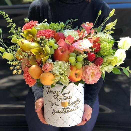 Шляпная коробка  хочу чтобы ты улыбалась: букеты цветов на заказ Flowwow