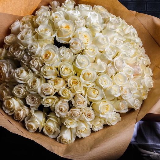 101 белая Роза сорта White chocolate: букеты цветов на заказ Flowwow