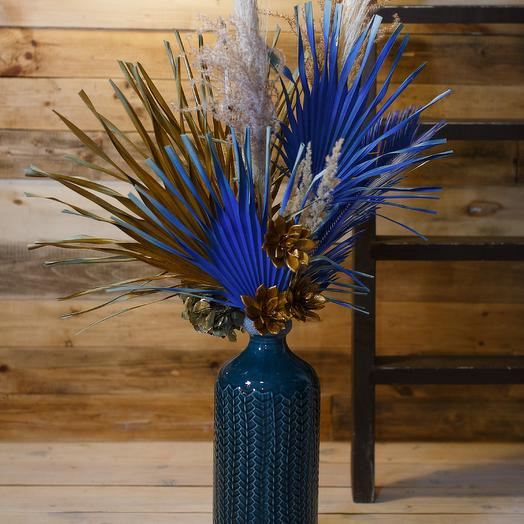 Композиция из сухоцветов в вазе: букеты цветов на заказ Flowwow
