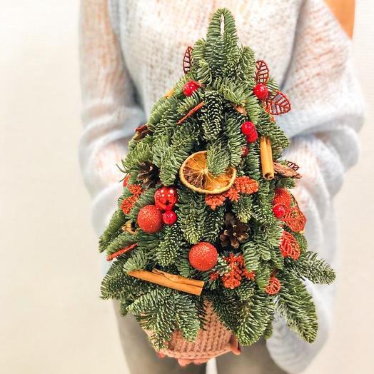 Ель в экостиле в вязаном кашпо: букеты цветов на заказ Flowwow