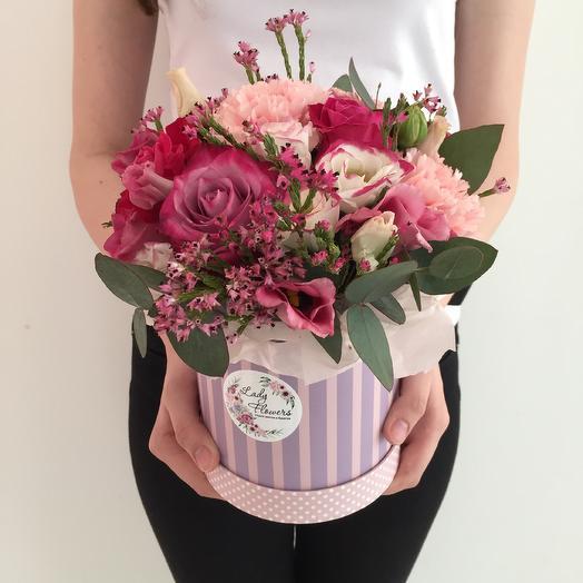 Композиция в шляпной коробке «Pink Lady»: букеты цветов на заказ Flowwow