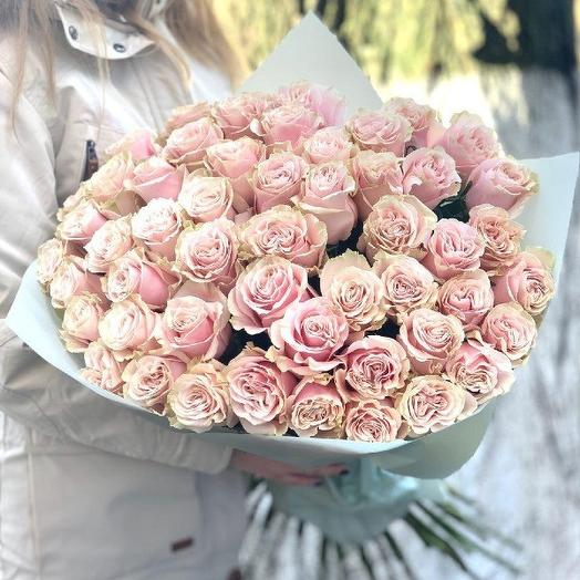 Букет из 51 нежно розовой розы премиум 60 см