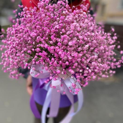 Цветы в коробке 21 свежих гипсофил «Нежная»