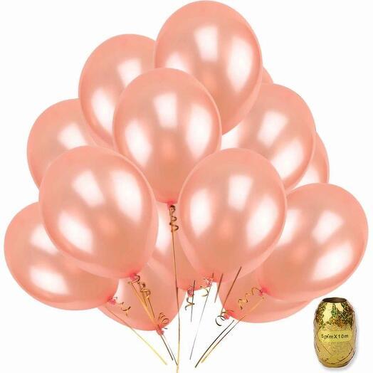 Шары цвета розового золота 10 шт