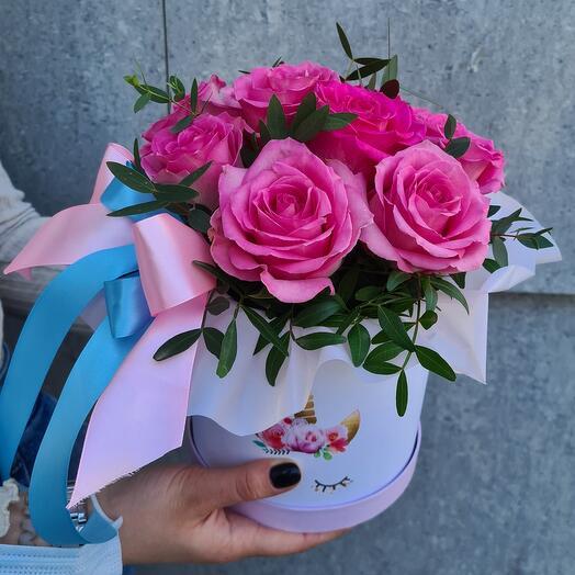 Шляпная коробка 9 роз