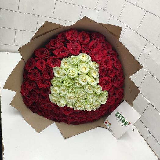 Сердца с розами 101шт