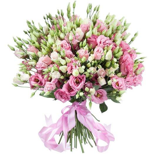 Букет из 31 ветки белой и розовой эустомы: букеты цветов на заказ Flowwow