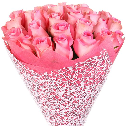 "25 розовых роз ""Ревивал"": букеты цветов на заказ Flowwow"
