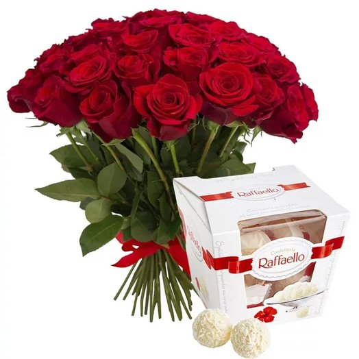 Set of 51 red roses and a Raffaello box
