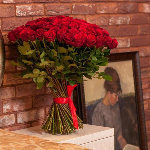 101 красная роза 60см: букеты цветов на заказ Flowwow