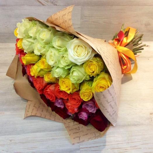 МИКС из 51 розы 2: букеты цветов на заказ Flowwow