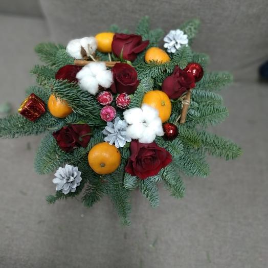 Коробочка из мандарин и хлопка: букеты цветов на заказ Flowwow