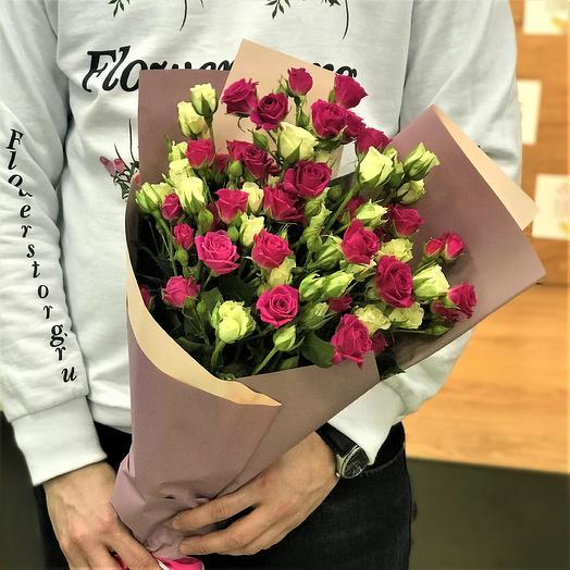 Букет кустовая роза 15 веточек. N338: букеты цветов на заказ Flowwow