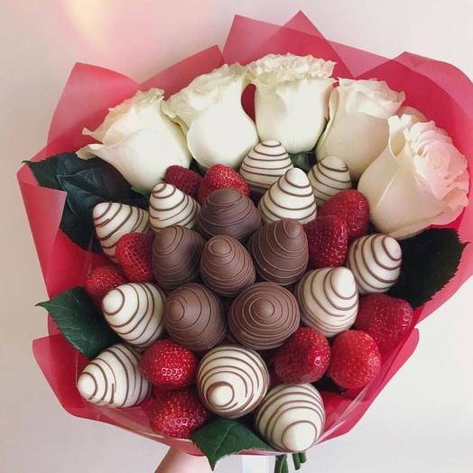 Клубничный букет «Фраппучино»: букеты цветов на заказ Flowwow