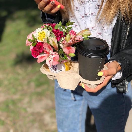 Кофе +цветы: букеты цветов на заказ Flowwow